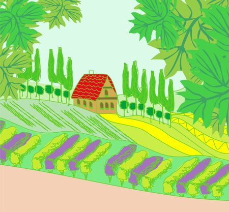 house on a hill in a rural scenery