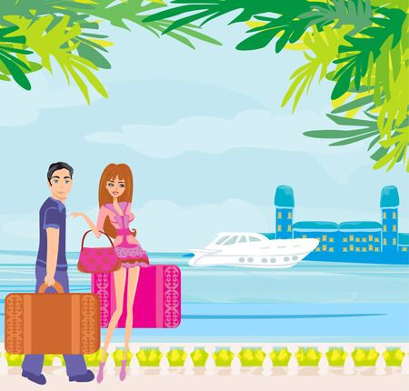 couple of tourists with suitcases on a tropical vacation