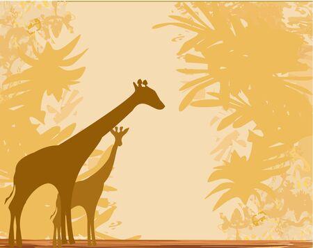 Grunge background with giraffe silhouette