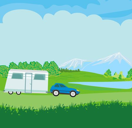 Traveling by motorhome  イラスト・ベクター素材