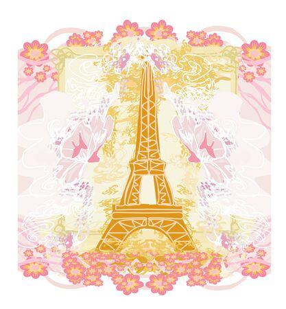Eiffel tower artistic card, decorative floral frame