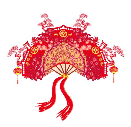 Chinese landscape and beautiful fan Ilustracja