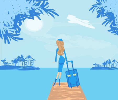 elegant woman on tropical vacation Illustration