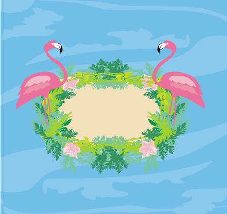 decorative frame with flamingos and nature Illusztráció