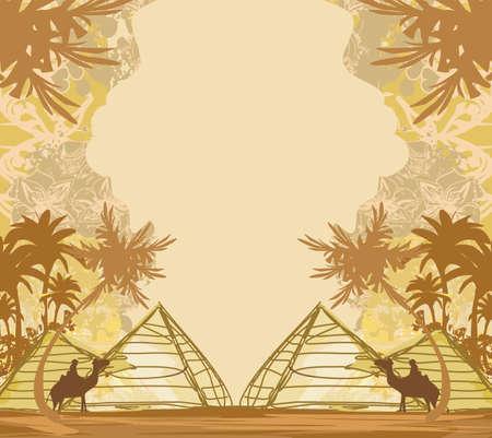 Camel in egypt desert - decorative vintage card