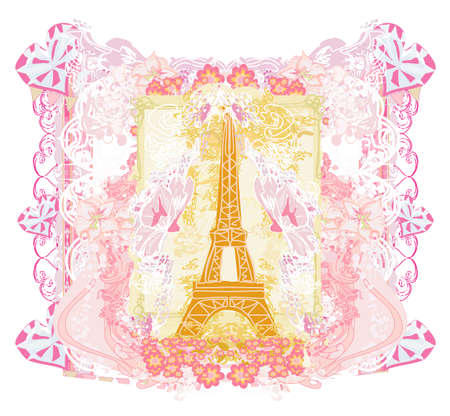 Eiffel tower artistic card, decorative floral frame