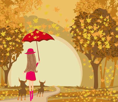 elegant woman walks her dogs on an autumn day 向量圖像