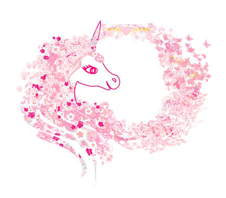 beautiful pink Unicorn - decorative floral frame
