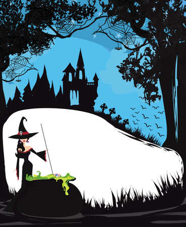 Halloween night frame with scary haunted castle and a witch preparing poison Vektorové ilustrace