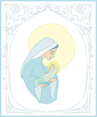 Madonna and child Jesus - Christmas card