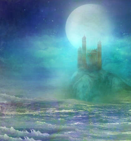 landscape with old castle at night Stock Photo