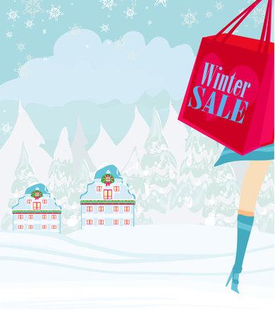 Christmas shopping - winter sale card Ilustracja