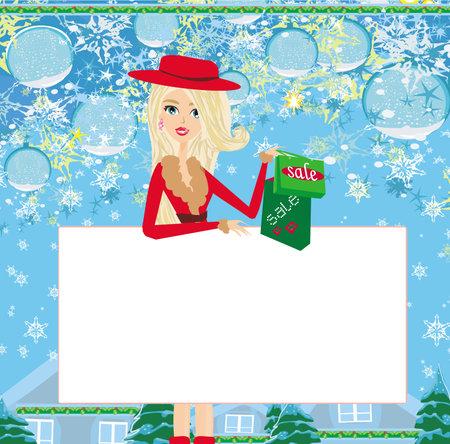 Beautiful girl on Christmas shopping - card