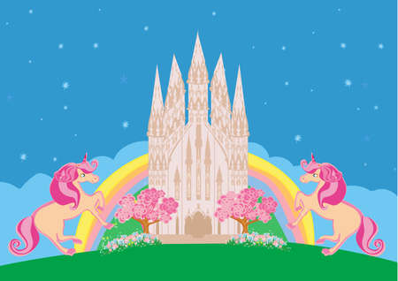 Cute unicorns and fairy-tale princess castle Illustration