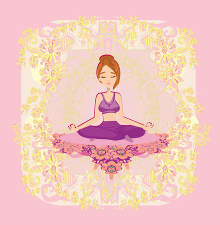 Girl in lotus pose meditating, abstract decorative card