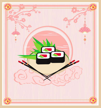 vintage sushi restaurant menu - decorative card