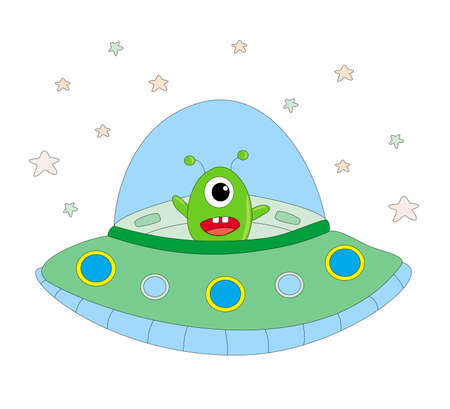 funny alien in a spaceship - isolated illustration
