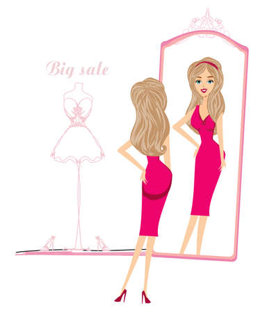 beautiful shopping girl looks at herself in the mirror Ilustração