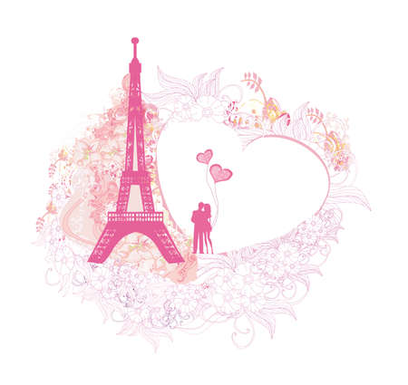 Romantic couple in Paris - abstract card