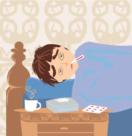 Illustration of a Sick boy lying in bed 벡터 (일러스트)