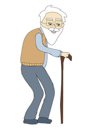 The old man - isolated doodle illustration Ilustración de vector