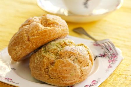 snack time: Green tea Choux cream  Stock Photo
