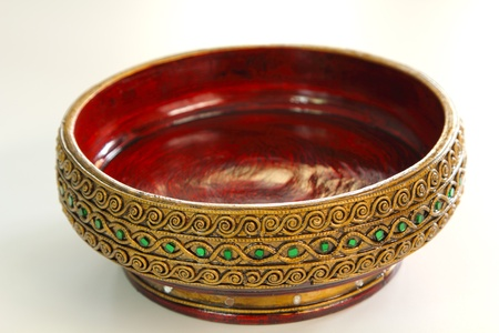 empty bowl: Lanna style handicraft wood work Stock Photo