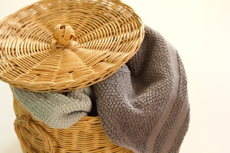 clutter: Messy  towel in a basket