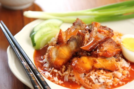 gravy:  Barbecue and Crispy pork with gravy sauce on rice,Chinese food