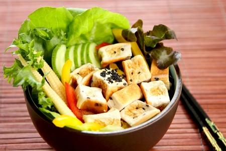 tofu: Tofu salad with varieties of vegetables Stock Photo