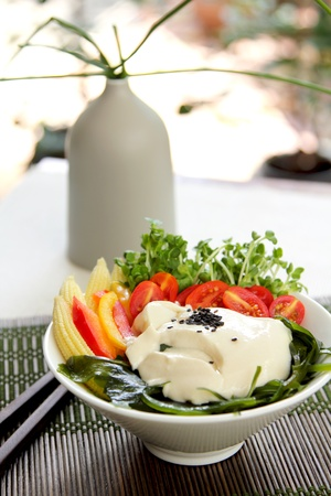 Fresh tofu salad [ Healthy salad ] Stock Photo - 10706347