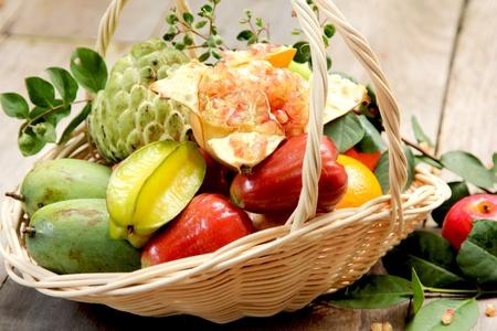 custard apple fruit: Basket of  fruits Stock Photo