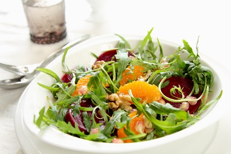 Rocket with orange and beetroot salad Stock Photo