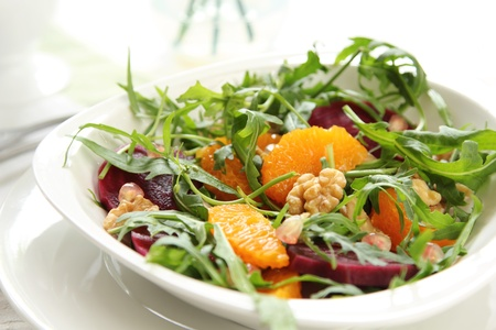 beet: Rocket with orange and beetroot salad Stock Photo