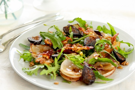 dried herbs: Warm rocket salad with bacon