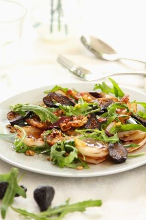 dried leaf: Warm rocket salad with bacon