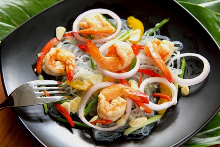 Sour & spicy vermicelli salad with prawn Stock Photo