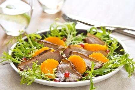 sweet and savoury: Smoked duck and orange salad