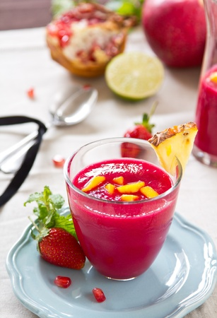 Beetroot,Pineapple and Strawberry smoothie