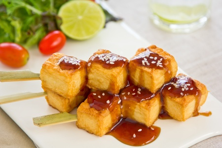 Barbecue  Teriyaki Tofu with salad
