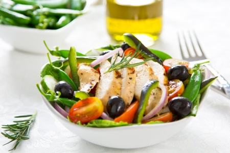 Grilled chicken with vegetable salad Stock Photo