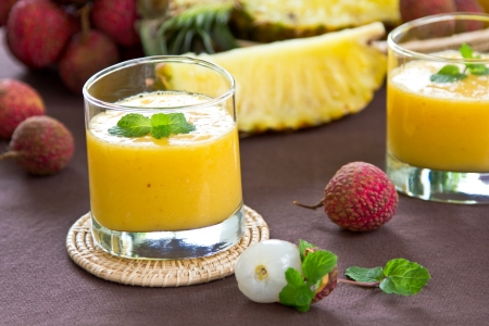 lychee: Lychee,Pineapple and Mango smoothie