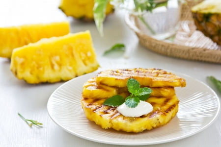 Grilled Pineapple Stock Photo