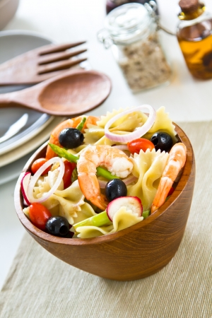 Pasta with prawn and asparagus salad photo