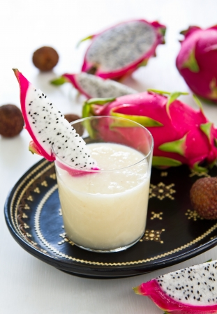 Lychee,Pineapple,Dragon fruit smoothie photo
