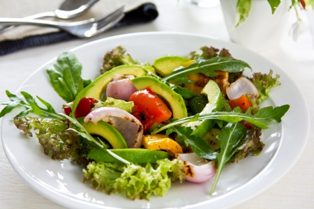 Avocado and Grilled vegetables salad photo