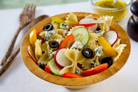 Farfalle with blue cheese salad photo