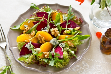 Beetroot,orange and blue cheese salad
