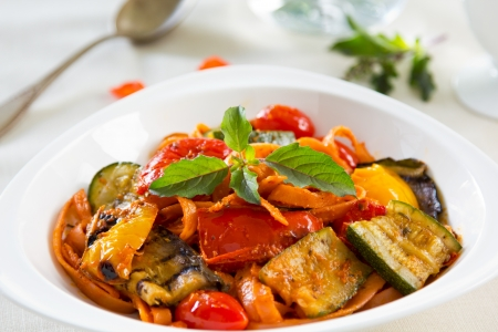 Fettuccine and Grilled vegetables in tomato sauce photo