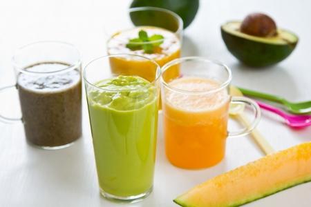 Fruits smoothie [ Mango,Avocado,Melon,Dragon fruit ] Stock Photo